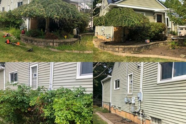 Two pictures of before and after progress.