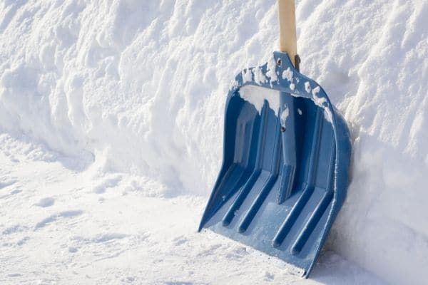 Blue snow shovel.
