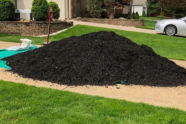 Black mulch pile in driveway.