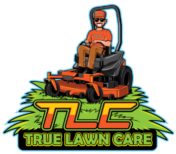 True Lawn Care cartoon logo with a man on a lawn mower.